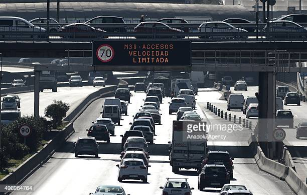 Speed limit has been reduced from 90 km per hour to 70 km per hour for vehicles in the orbit road in order to prevent air pollution in Madrid Spain...