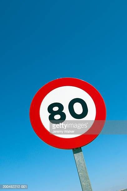 Speed limit road sign, low angle view