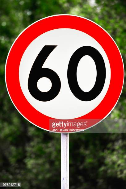 speed limit sign 60 km/h - number 60 stock photos and pictures