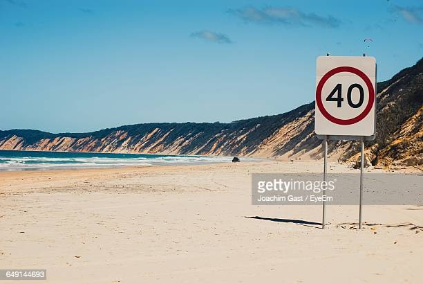 speed limit sign at beach against sky - number 40 stock photos and pictures