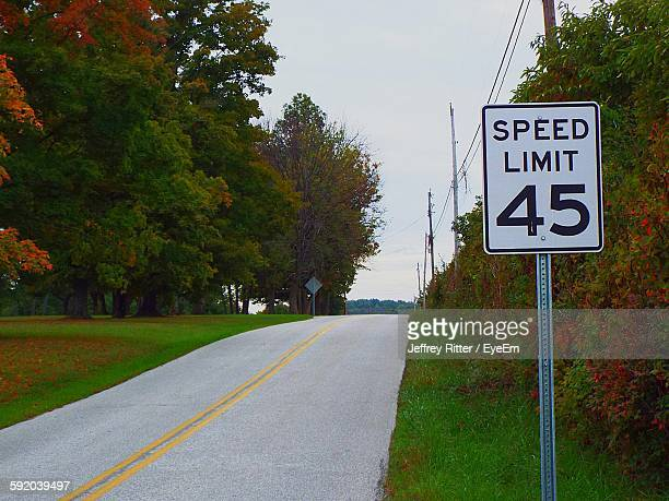 Speed Limit Sign By Empty Road