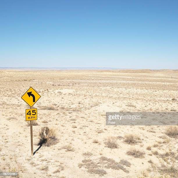 Speed Limit Sign on Desert Road