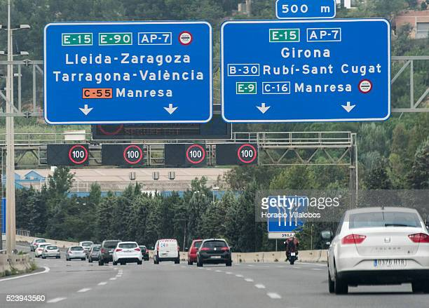 Speed limit signs on C16 or Eix del Llobregat primary highway near Barcelona in Catalonia Spain 14 October 2014 C16 is also part of the European...