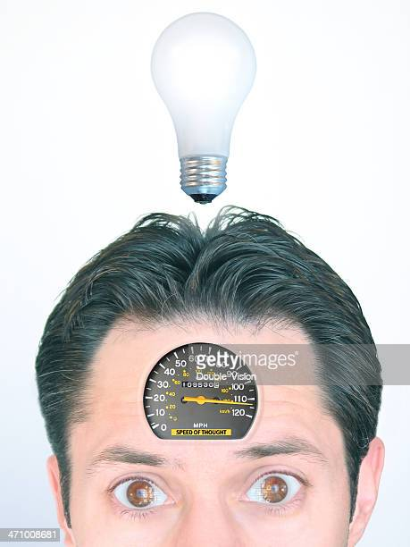 Speed of Thought: Man with Speedometer Embedded in Forehead
