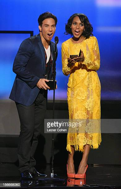 Speed skater Apolo Anton Ohno and actress Kerry Washington onstage during the 40th Anniversary American Music Awards held at Nokia Theatre LA Live on...
