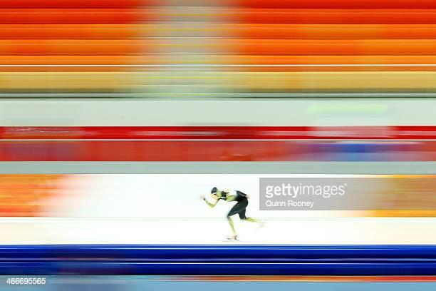 Speed Skater Ayaka Kikuchi of Japan skates during a training session ahead of the Sochi 2014 Winter Olympics at Adler Arena Skating Center on...