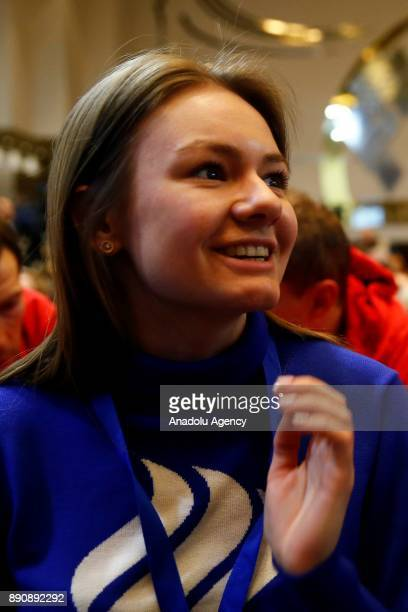 Speed skater Ekaterina Olegovna Efremenkova attends at a session of the Russian Olympic Committee to discuss the IOC decision to suspend the Russian...