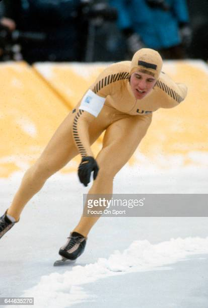 Speed Skater Eric Heiden of the United States competes in the XIII Olympic Winter Games circa 1980 in Lake Placid New York