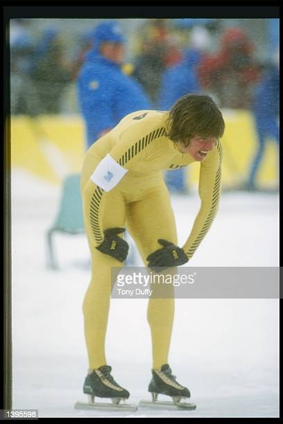 Speed skater Eric Heiden of the United States rests with hands on knees during the 1980 Winter Olympics in Lake Placid New York Mandatory Credit Tony...