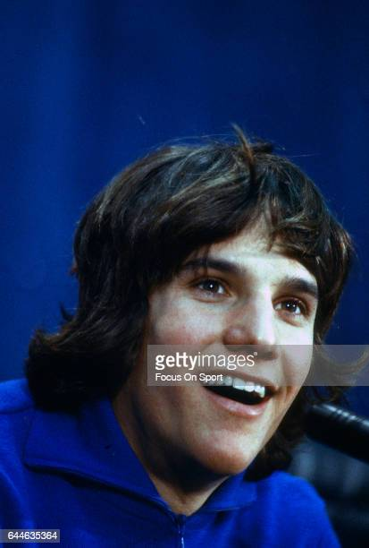 Speed Skater Eric Heiden of the United States talks to the media at the XIII Olympic Winter Games circa 1980 in Lake Placid New York
