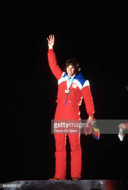 Speed Skater Eric Heiden of the United States waves to the fans during a metal ceremony at the XIII Olympic Winter Games circa 1980 in Lake Placid...