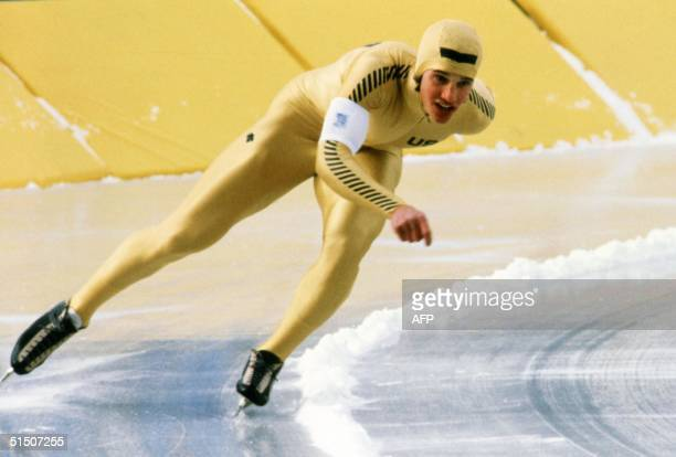 US speed skater Eric Heiden powers his way to a gold medal in the men's 1000m 19 February 1980 in Lake Placid during the Winter Olympic Games Heiden...