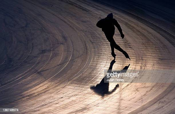 Speed Skater in action at the Skating Oval during previews to the Winter Youth Olympic Games on January 11 2012 in Innsbruck Austria