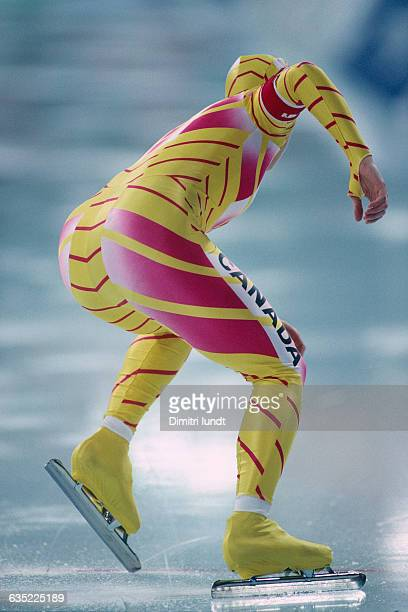 Speed skater in start position during the 1994 Winter Olympics