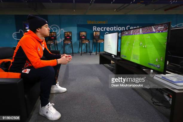 Speed skater Koen Hakkenberg of the Netherlands plays video games ahead of the PyeongChang 2018 Winter Olympic Games at Gangneung Olympic Village on...