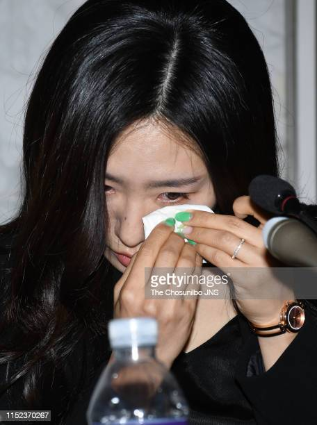 Speed skater Lee Sang Hwa Retirement Ceremony and Journalists Meeting was held at The Plaza Hotel in Junggu on May 16 2019 in Seoul South Korea