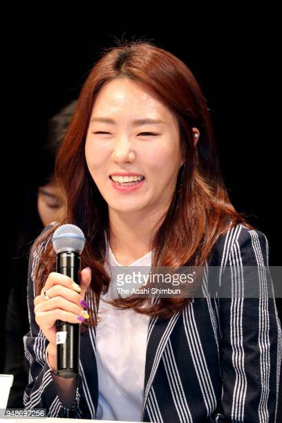 Speed skater Lee Sanghwa of South Korea attend a talk show with Nao Kodaira of Japan at Korean Cultural Center on April 19 2018 in Tokyo Japan