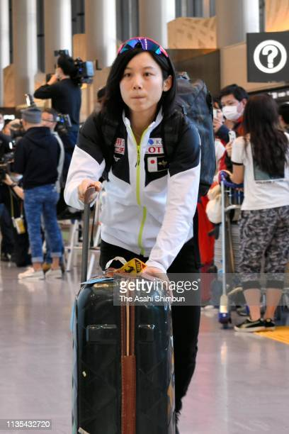 Speed skater Miho Takagi is seen on arrival at Narita International Airport on March 12 2019 in Narita Chiba Japan