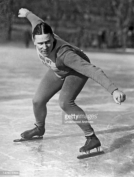 Speed skater Murphy at the Ice Palace in Brooklyn New York New York 1920s