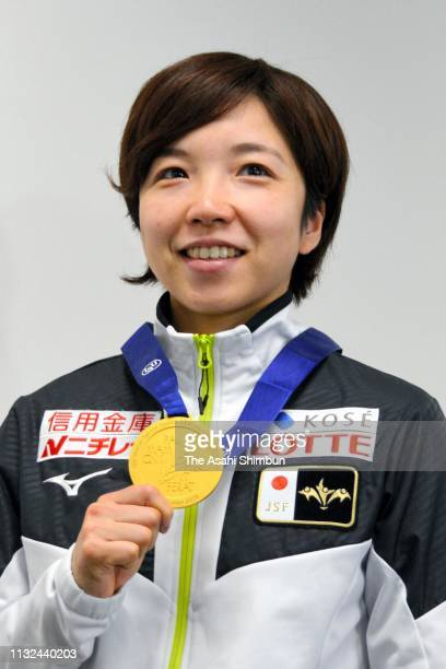 Speed skater Nao Kodaira is seen on arrival at Haneda Airport on February 26 2019 in Tokyo Japan