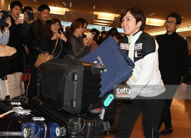 Speed Skater Nao Kodaira is seen upon arrival at Haneda Airport on February 26 2019 in Tokyo Japan