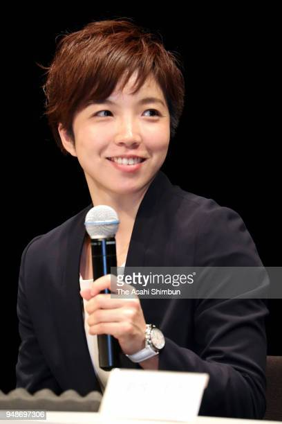 Speed skater Nao Kodaira of Japan attends the talk session with Lee Sanghwa of South Korea at Korean Cultural Center on April 19 2018 in Tokyo Japan