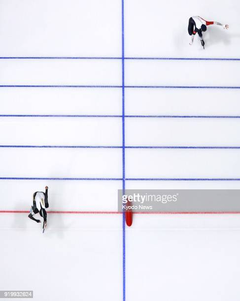Speed skater Nao Kodaira of Japan crosses the finish line in the women's 500meter speed skating at the Pyeongchang Winter Olympics on Feb 18 2018...