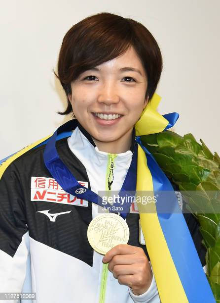 Speed Skater Nao Kodaira poses with the gold medal from the women's overall title at the ISU World Sprint Speed Skating Championships in Heerenveen...