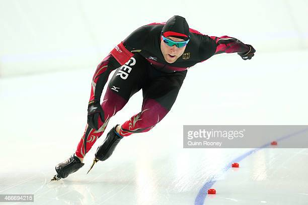 Speed skater Nico Ihle of Germany skates during a training session ahead of the Sochi 2014 Winter Olympics at Adler Arena Skating Center on February...
