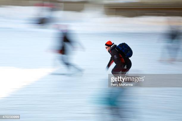 Speed skater on the Rideau Canal. The Rideau Canal, a UNESCO World Heritage Site, is turned into the longest skating rink in the world, measuring...