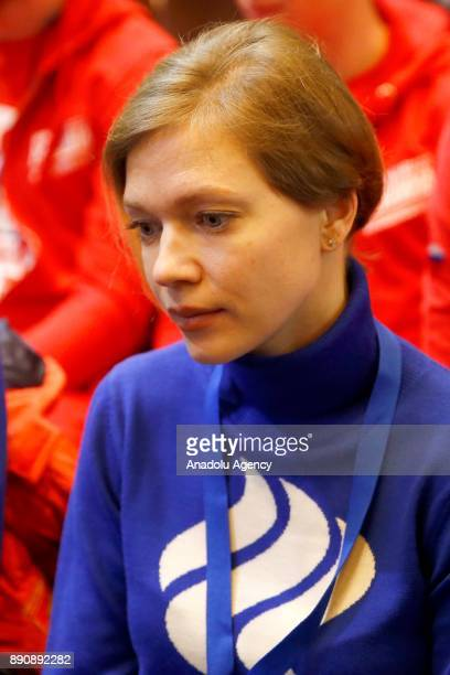 Speed skater Tatyana Borodulina attends at a session of the Russian Olympic Committee to discuss the IOC decision to suspend the Russian Olympic...