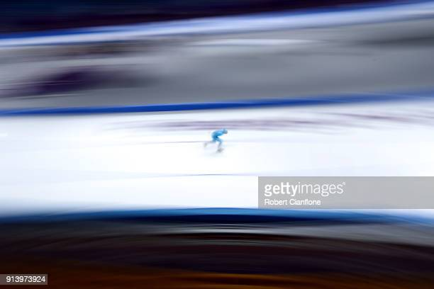A speed skater trains at the Gangneung Oval on February 4 2018 in Pyeongchanggun South Korea