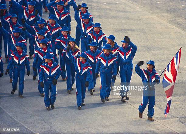 Speed skater Wilf O'Reilly leads team Great Britain during the opening ceremony for the XVI Olympic Winter Games on 8 February 1992 at Theatre des...