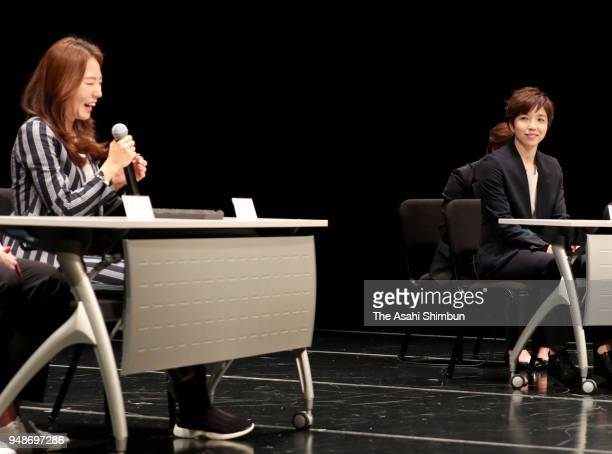 Speed skaters Nao Kodaira of Japan and Lee Sanghwa of South Korea attend a talk show at Korean Cultural Center on April 19 2018 in Tokyo Japan