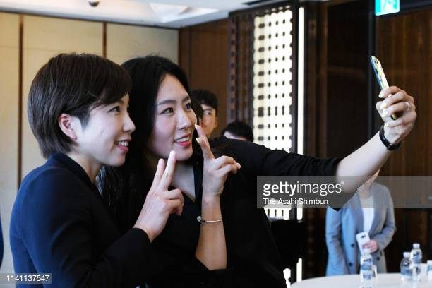 Speed skaters Nao Kodaira of Japan and Lee SangHwa of South Korea take selfie after the award ceremony of the KoreaJapan Friendship prize on April 7...