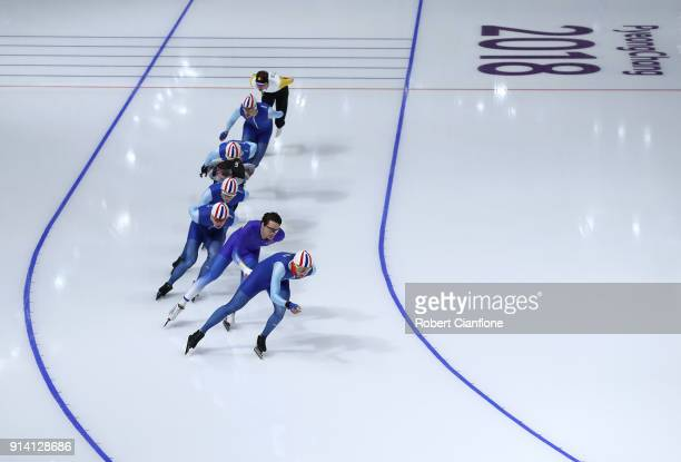 Speed skaters train at the Gangneung Oval on February 4 2018 in Pyeongchanggun South Korea
