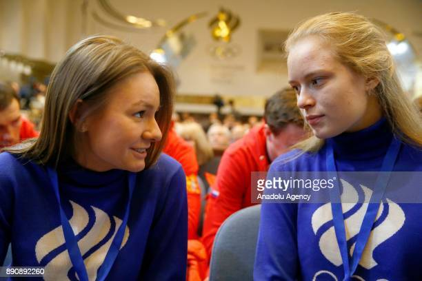 Speed skaters Yevgenia Zakharova Ekaterina Olegovna Efremenkova attends at a session of the Russian Olympic Committee to discuss the IOC decision to...