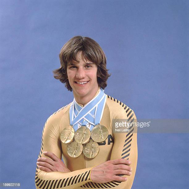 1980 Winter Olympics Portrait of USA Eric Heiden victorious posing with his five gold medals Lake Placid NY CREDIT Neil Leifer