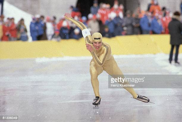 Speed Skating 1980 Winter Olympics USA Eric Heiden in action during competition Lake Placid NY 2/13/19802/24/1980