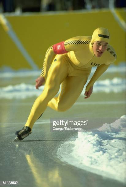 Speed Skating 1980 Winter Olympics USA Eric Heiden in action during competition Lake Placid NY 2/24/1980