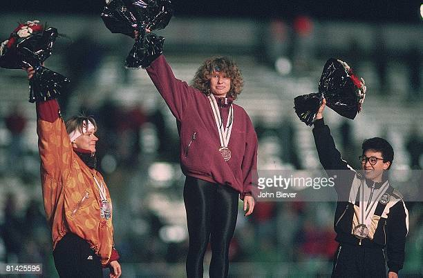 Speed Skating: 1992 Winter Olympics, Germany Gunda Niemann-Stirnemann , Jacqueline Borner , and Japan Seiko Hashimoto victorious on medal stand after...