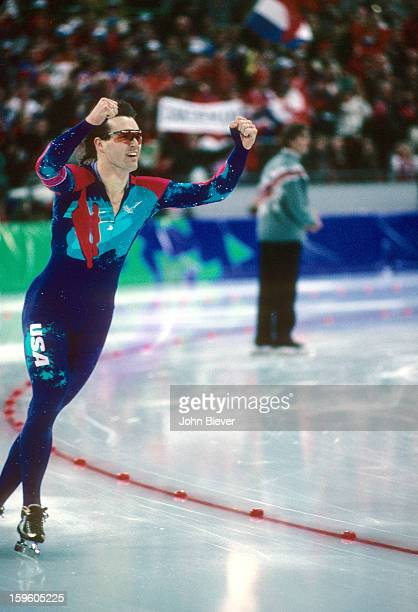 1994 Winter Olympics USA Dan Jansen victorious after winning gold during Men's 1000M Finals at Vikingskipet Olympic ArenaHamar Norway 2/18/1994...