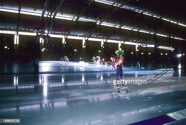 1994 Winter Olympics USA Dan Jansen victorious with medal and flowers after winning gold during Men's 1000M race at Vikingskipet Olympic Arena Hamar...