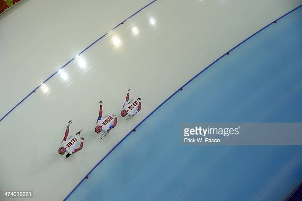 2014 Winter Olympics Aerial view of Russia Olga Graf Yekaterina Lobysheve and Yuliya Skokova in action during Women's Team Pursuit at Adler Arena...