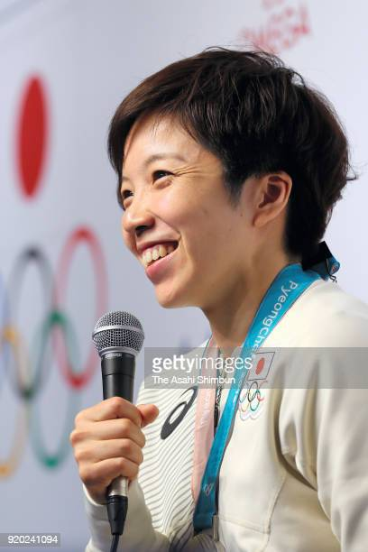 Speed skating Ladies' 500m gold medalist and 1000m silver medalist Nao Kodaira of Japan speaks to the media during a press conference on day ten of...