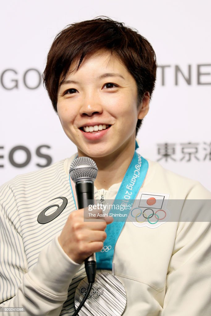 Speed skating Ladies' 500m gold medalist and 1000m silver medalist Nao Kodaira of Japan speaks to the media during a press conference on day ten of the PyeongChang Winter Olyumpic Games at the Japan House on February 19, 2018 in Pyeongchang-gun, South Korea.