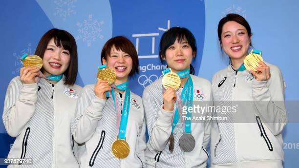 Speed skating Ladies Team Pursuit gold medalist Ayano Sato Nana Takagi Miho Takagi and Ayaka Kikuchi attend a press conference on day sixteen of the...