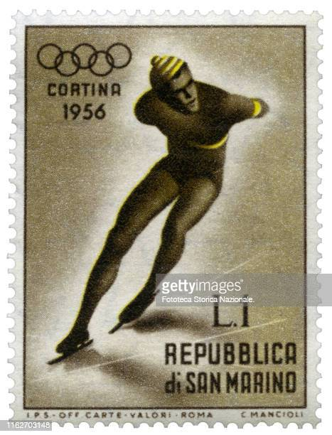 Speed skating Postage stamp from the series dedicated by the Postal Service of the Republic of San Marino to sports practiced in the 7th Winter...