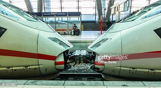 ICE speed train in Frankfurt airport train station