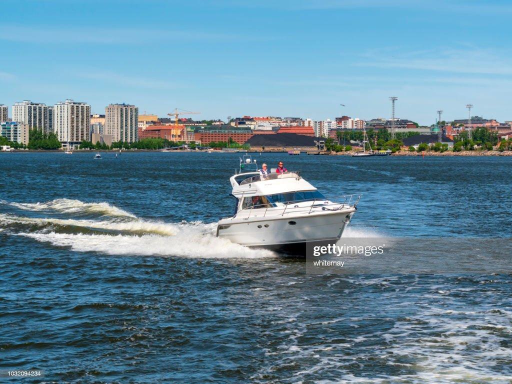Speedboat in Helsinki harbour, Finland : Stock Photo